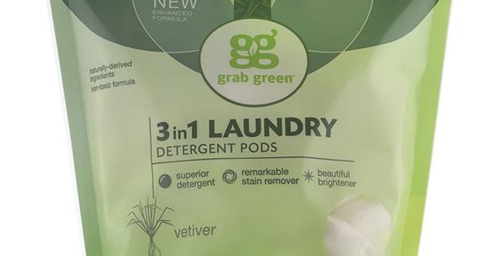 GRAB GREEN VETIVER 3-IN-1 LAUNDRY DETERGENT PODS 60 LOADS