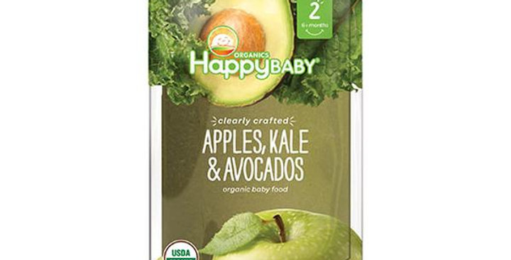 HAPPY FAMILY BRANDS STAGE 2 ORGANIC APPLES, KALE & AVOCADOS 4 OZ.