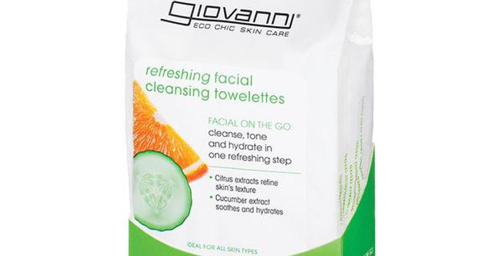 GIOVANNI CITRUS & CUCUMBER REFRESHING FACIAL TOWELETTES 30 COUNT