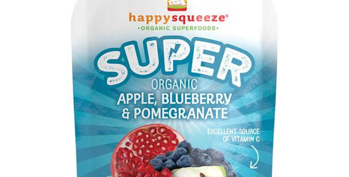 HAPPY FAMILY BRANDS HAPPY SQUEEZE APPLE, BLUEBERRY, POMEGRANATE SUPER POUCH 4 (3