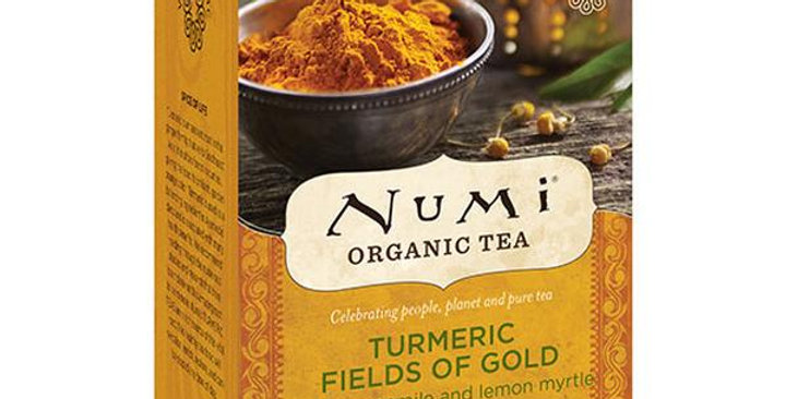 NUMI TEA FAIR TRADE FIELDS OF GOLD TURMERIC TEA 12 TEA BAGS