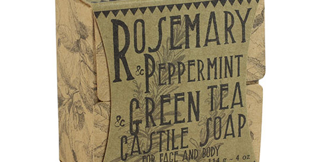 VIRGINIA FIRST TEA FARM ROSEMARY PEPPERMINT & GREEN TEA CASTILE BAR SOAP 4 OZ.
