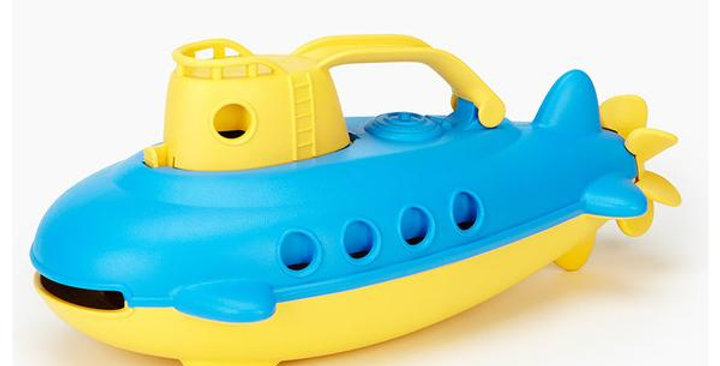 GREEN TOYS BATH & WATER PLAY YELLOW SUBMARINE FOR 6+ MONTHS