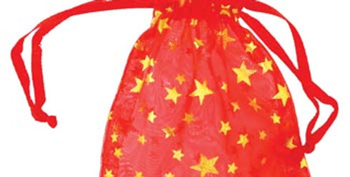 Red Organza Pouch with Gold Stars