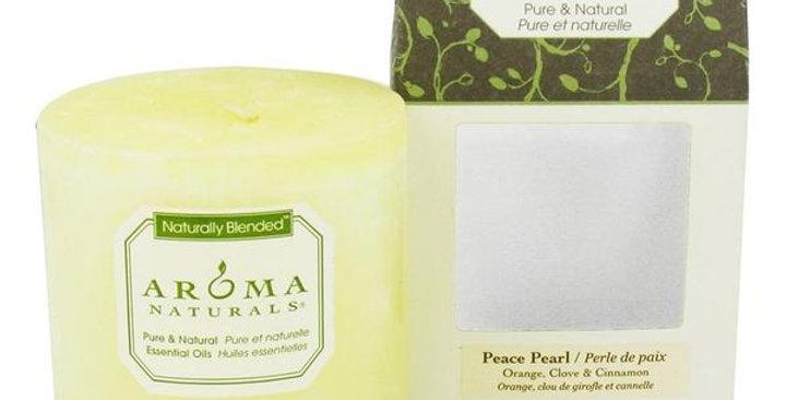 "Aroma Naturals Peace Pearl White Pillar 3"" x 3 1/2"""