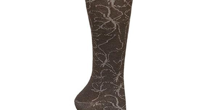 MAGGIE'S FUNCTIONAL ORGANICS FRENCH ROAST INK SCROLL KNEE HIGH SOCKS 10-13