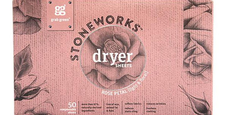 GRAB GREEN STONEWORKS COMPOSTABLE DRYER SHEETS ROSE PETAL 50 COUNT