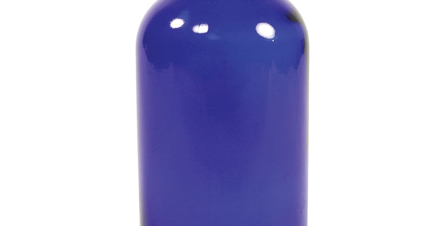 Cobalt Blue Boston Round Bottle with Cap 4 fl oz