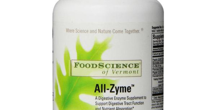 FOODSCIENCE OF VERMONT ALL-ZYME DIGESTIVE TABLETS 90 TABLETS