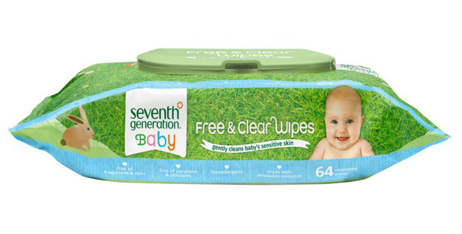 SEVENTH GENERATION FREE & CLEAR BABY WIPES WITH FLIP-TOP OPENING
