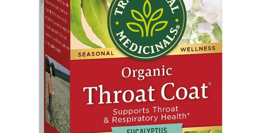 TRADITIONAL MEDICINALS THROAT COAT EUCALYPTUS TEA 16 TEA BAGS