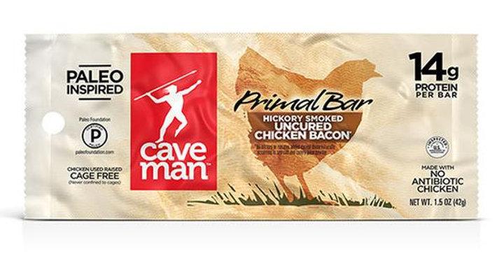 CAVEMAN FOODS HICKORY CHICKEN BACON PRIMAL BARS 12 (1.5 OZ.) BARS PER BOX