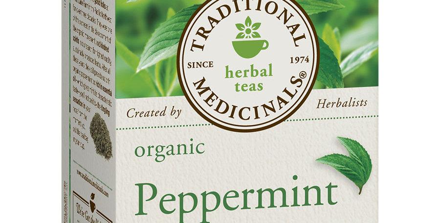 TRADITIONAL MEDICINALS ORGANIC PEPPERMINT TEA 16 TEA BAGS