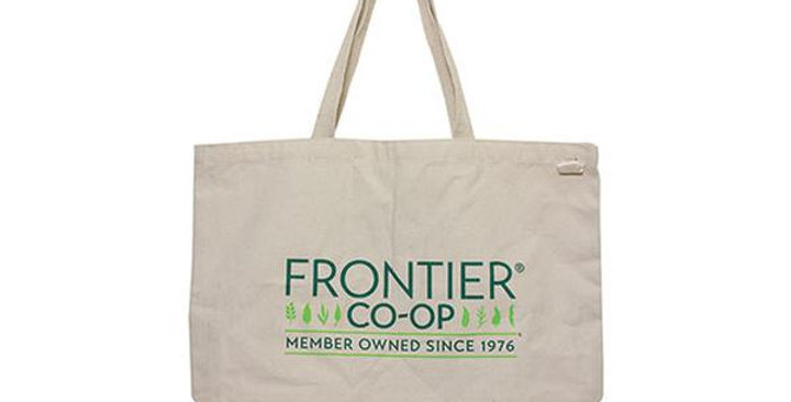 """ECOBAGS EVERYDAY TOTE BAG WITH FRONTIER CO-OP LOGO 19"""" X 15 1/2"""""""