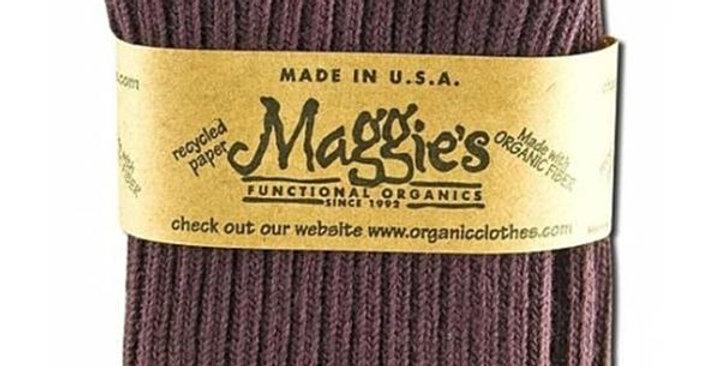 MAGGIE'S FUNCTIONAL ORGANICS EGGPLANT CLASSIC CREW SOCKS 9-11