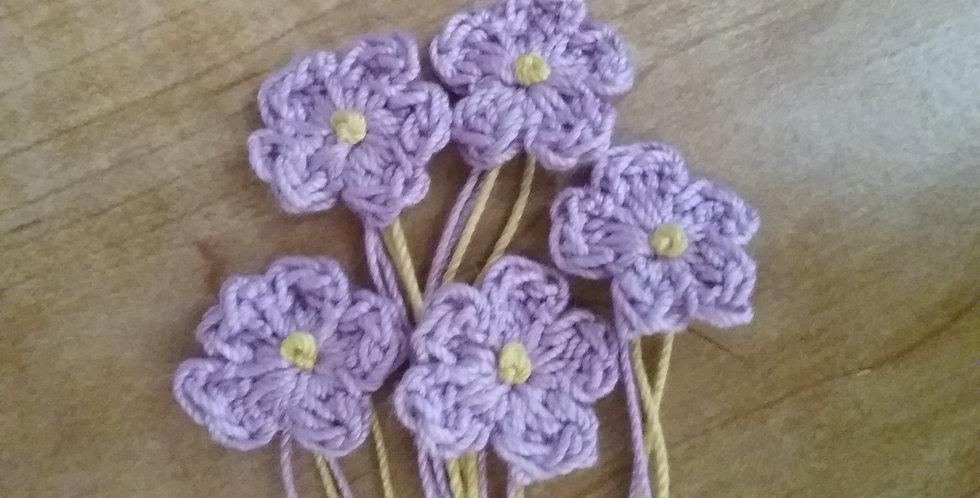 Small Five-Petal Floral Appliques