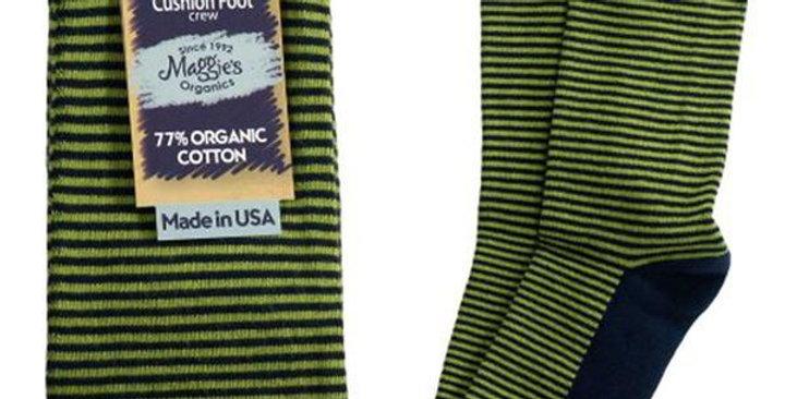 MAGGIE'S FUNCTIONAL ORGANICS NAVY/GREEN STRIPED CUSHION CREW SOCKS 9-11