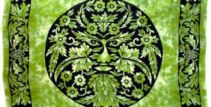 Green and Black Green Man Tapestry
