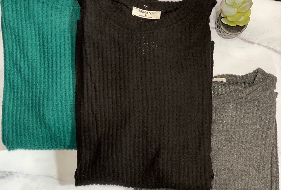 A New Day Waffle Knit Top
