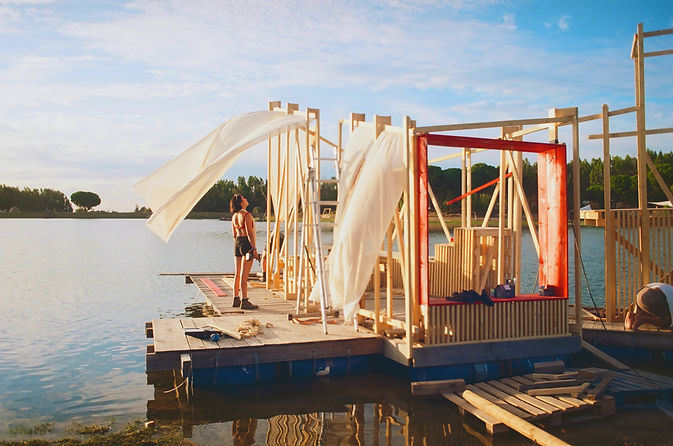 waking life festival installation art on lake house collaborative interactive structure music festival foggy morning on the lake build photo