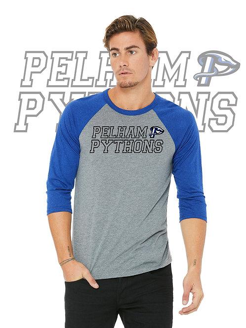 Grey/Royal Bella + Canvas Unisex 3/4-Sleeve Baseball T-Shirt