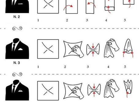 05 formatos mais tradicionais de dobrar um lenço de bolso