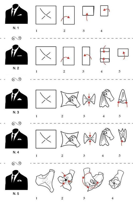 04 formatos mais tradicionais de dobrar um lenço de bolso