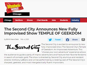 The Second City Announces New Fully Improvised Show TEMPLE OF GEEKDOM