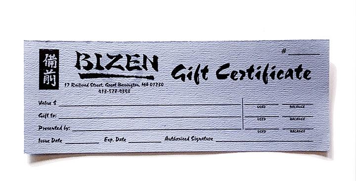 Bizen Gift Certificate 25