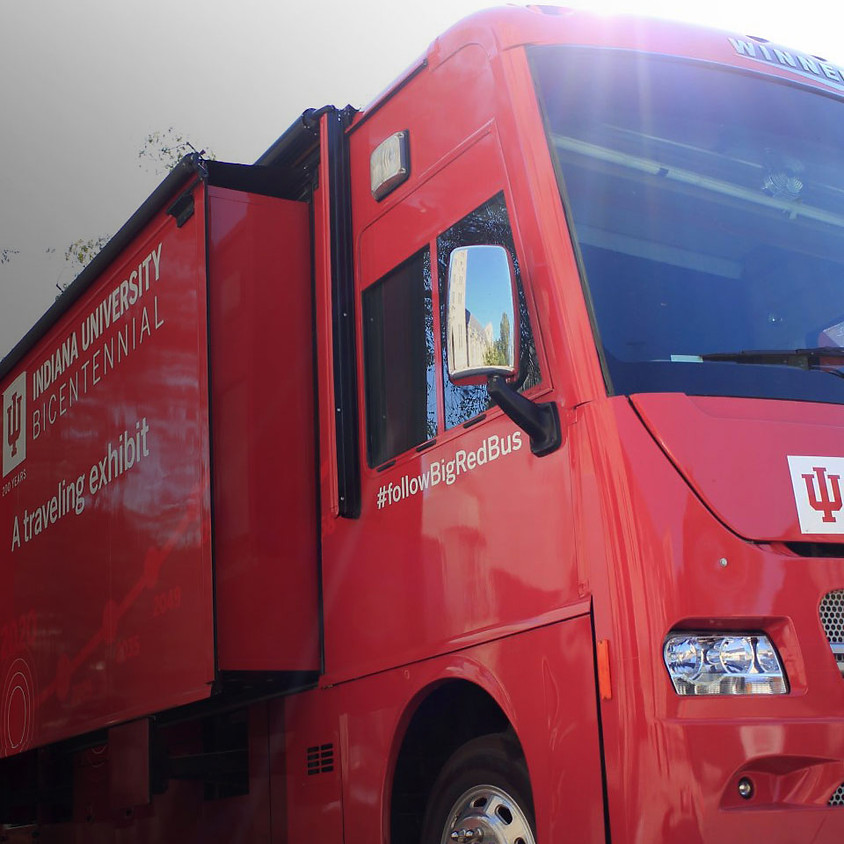 """IU's """"All for you"""" Big Red Bus Exhibit"""