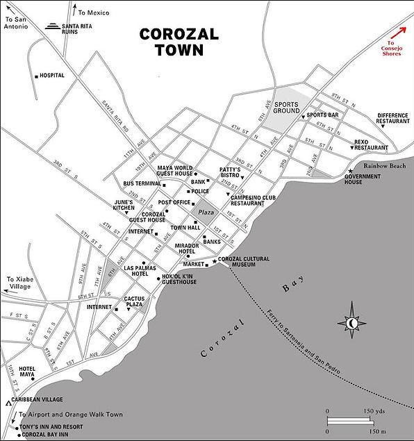Map of Corozal Town, Belize
