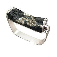 Slate, Pyrite, Silver Bracelet