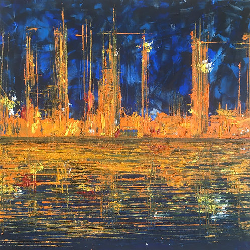 City oil painting