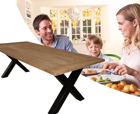 Mesa de comedor en acero y madera Modelo *X-Factor*