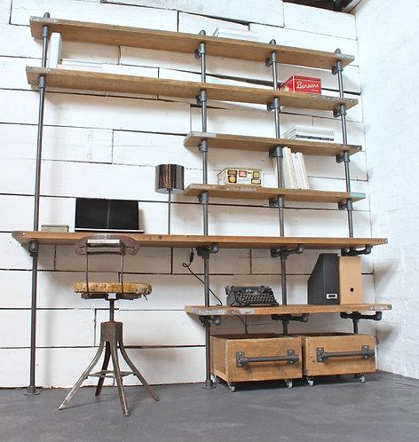 Escritorio Industrial tubos de acero Estantería con 2 cajas
