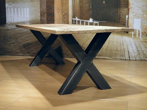 Mesa de comedor en acero y madera Modelo *X*100x100