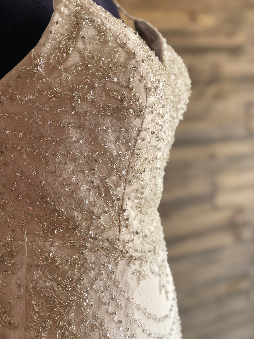 Vintage inspired beaded sheath bridal gown