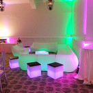 LED L Lounge & 3pc Couch Set with Foot Stool & LED Cube Stools