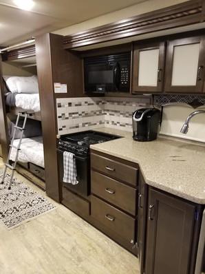 Kitchen and bunk area, Thor Hurricane 34J