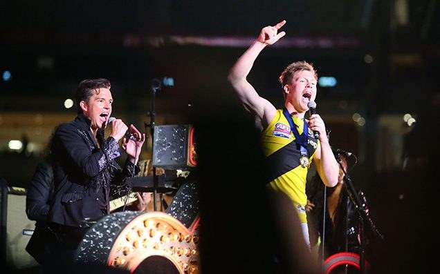 Jack Riewoldt on stage with the Killers