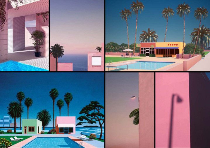Flamingo Vacation Mood Board