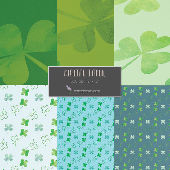 Scrapbook St. Patricks Day Papers from Rene Blooms