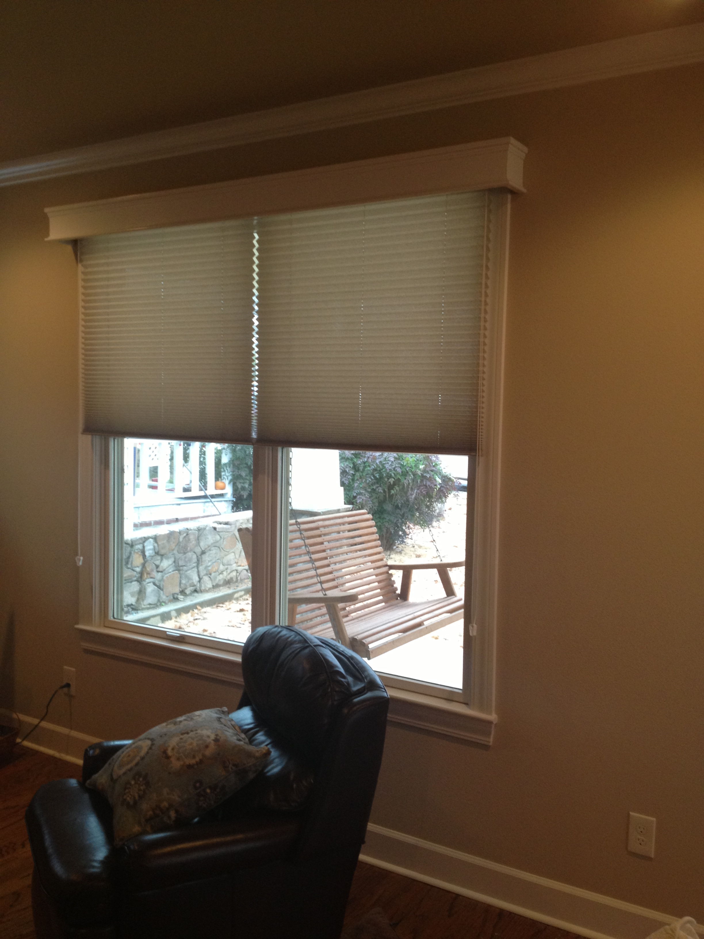 pleated shades 2 on 1 with cornice