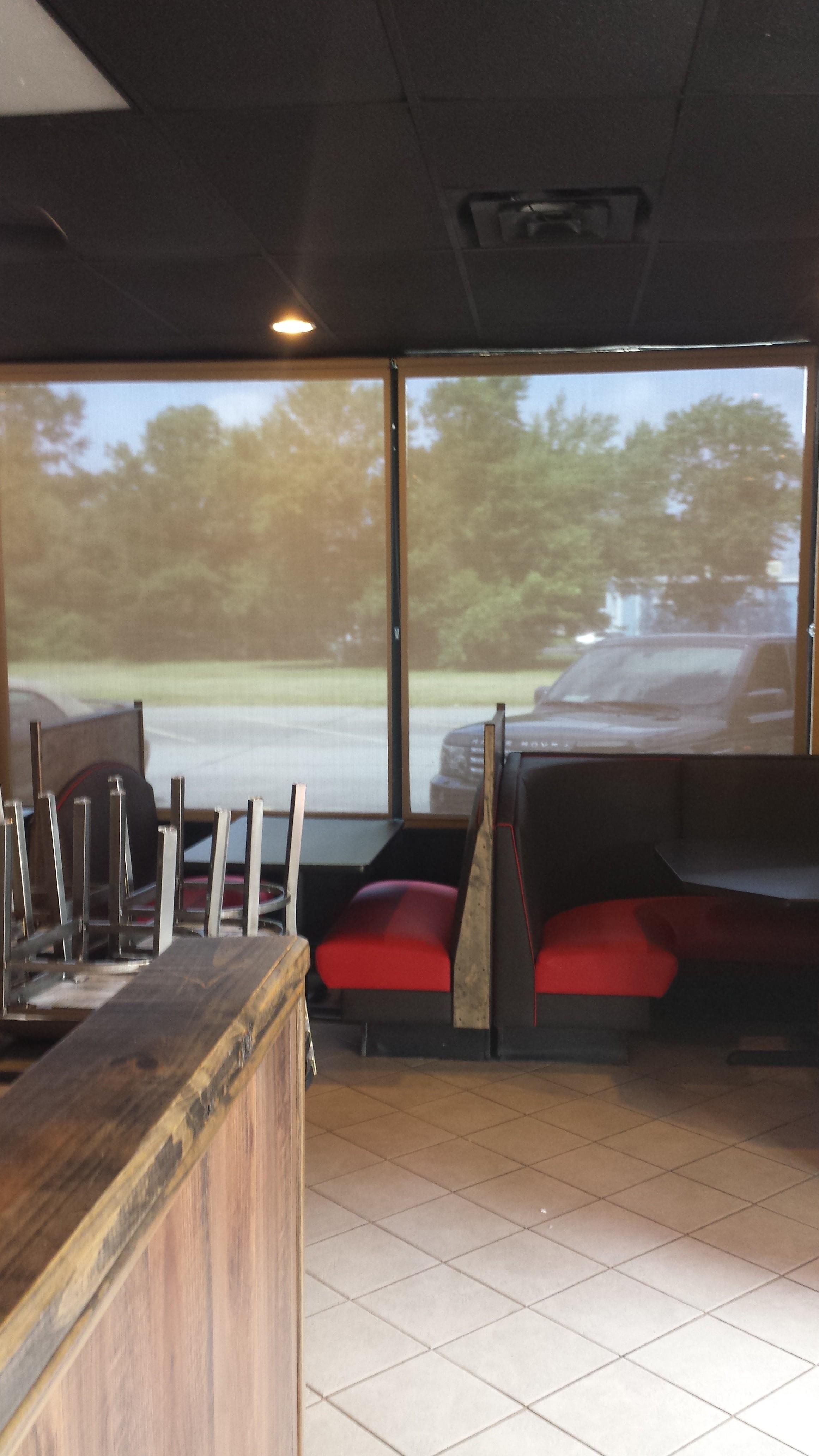 solar shade in restaurant