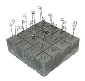 RW Foster Concrete Products – Bricked Concrete Dobies, Rebar Support Block
