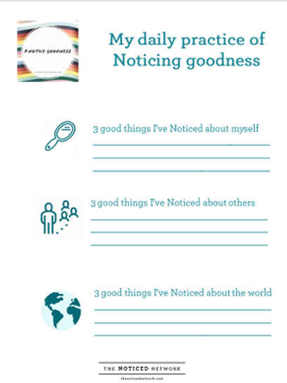 Noticing goodness proactice worksheet
