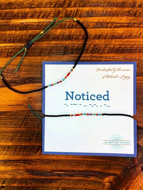 Morse Code Bracelet (green string)
