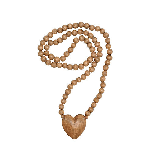 Hand Carved Wood Heart Beads