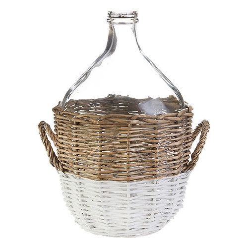 "16"" Glass Vase in Basket"