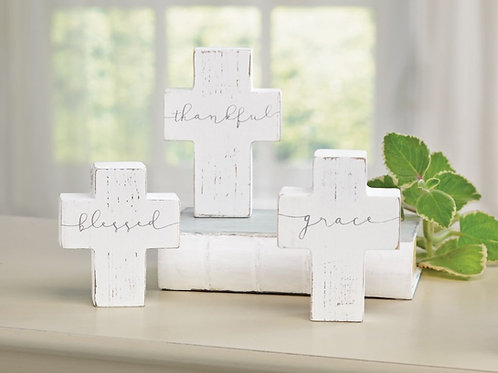 White-washed chunky cross - Set of 3